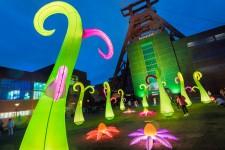 Blick auf Lichtinstallationen auf dem Welterbe Zollverein