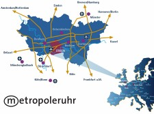 Grafik Karte mit Anreisemöglichkeiten nach Essen