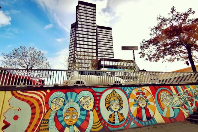 Graffiti Schützenbahn mit Blick auf das Rathaus