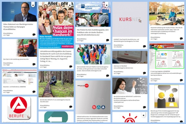 Screenshot der Social-Media-Wall #EssenBildetAus