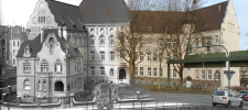 Zweigeteiltes Foto: Gegenüberstellung der Luisenschule gestern und heute