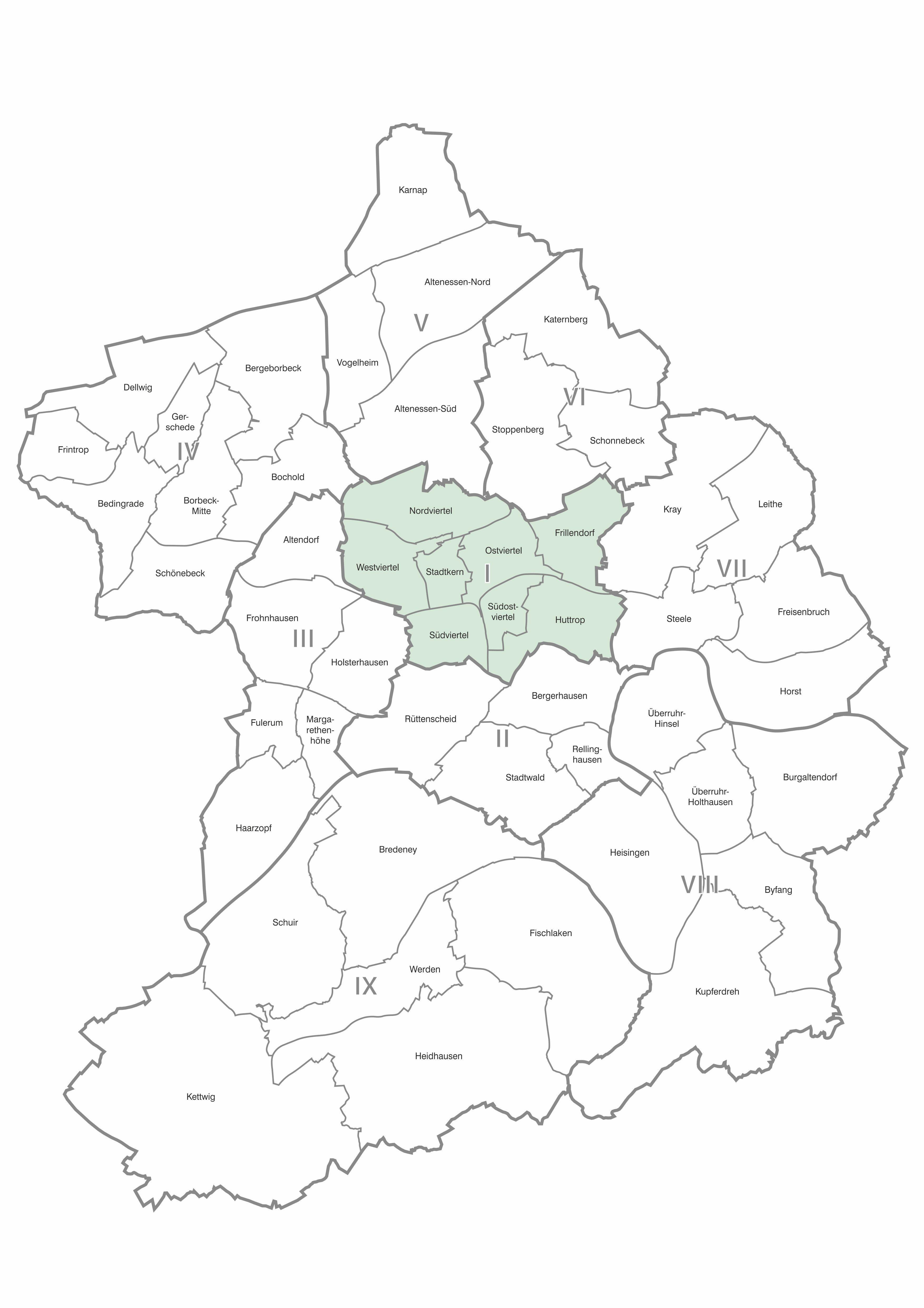 Karte der Stadtteile und Bezirke Essen, Bezirk 1