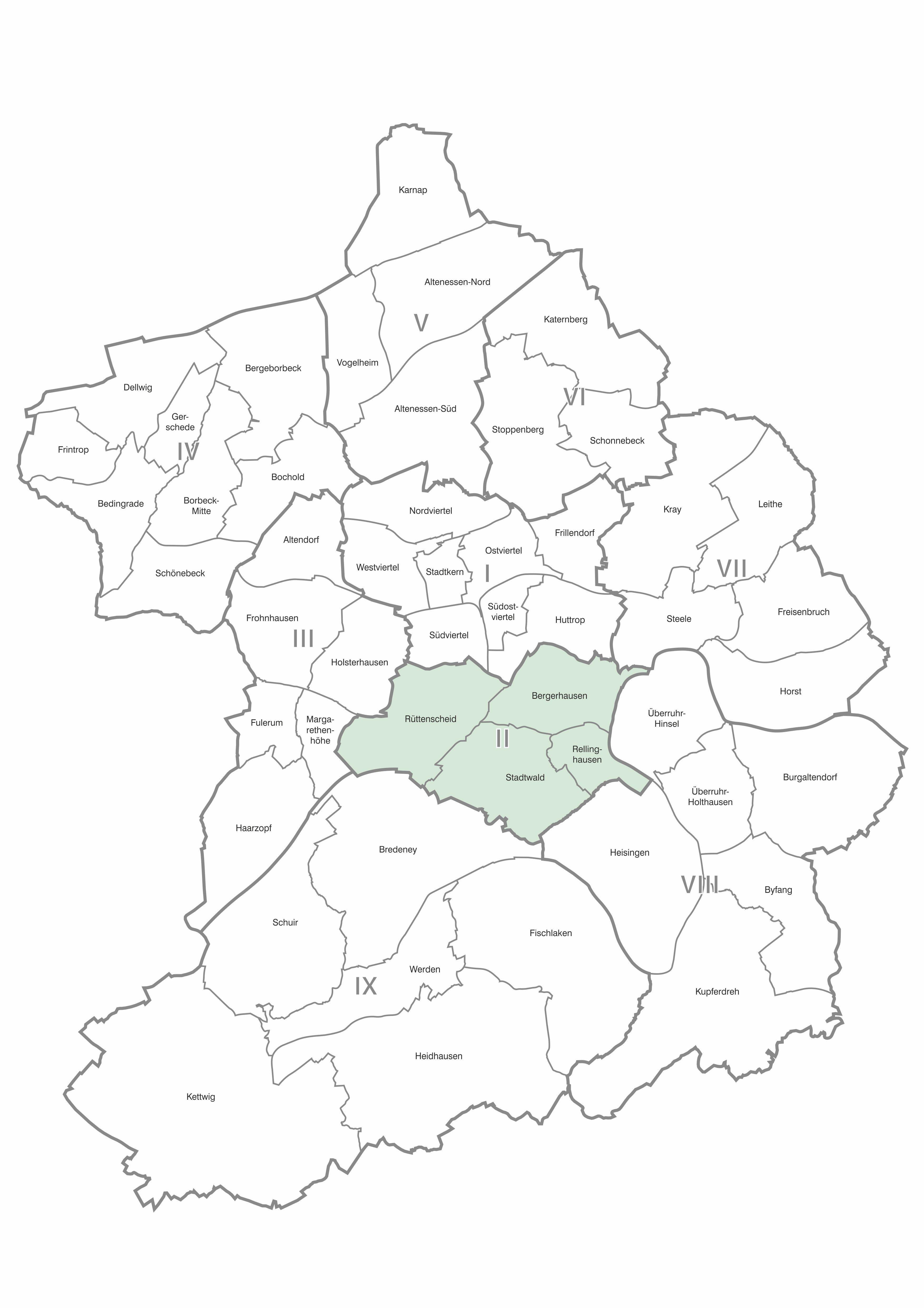 Karten der Stadtteile und Bezirke Essen, Bezirk 2