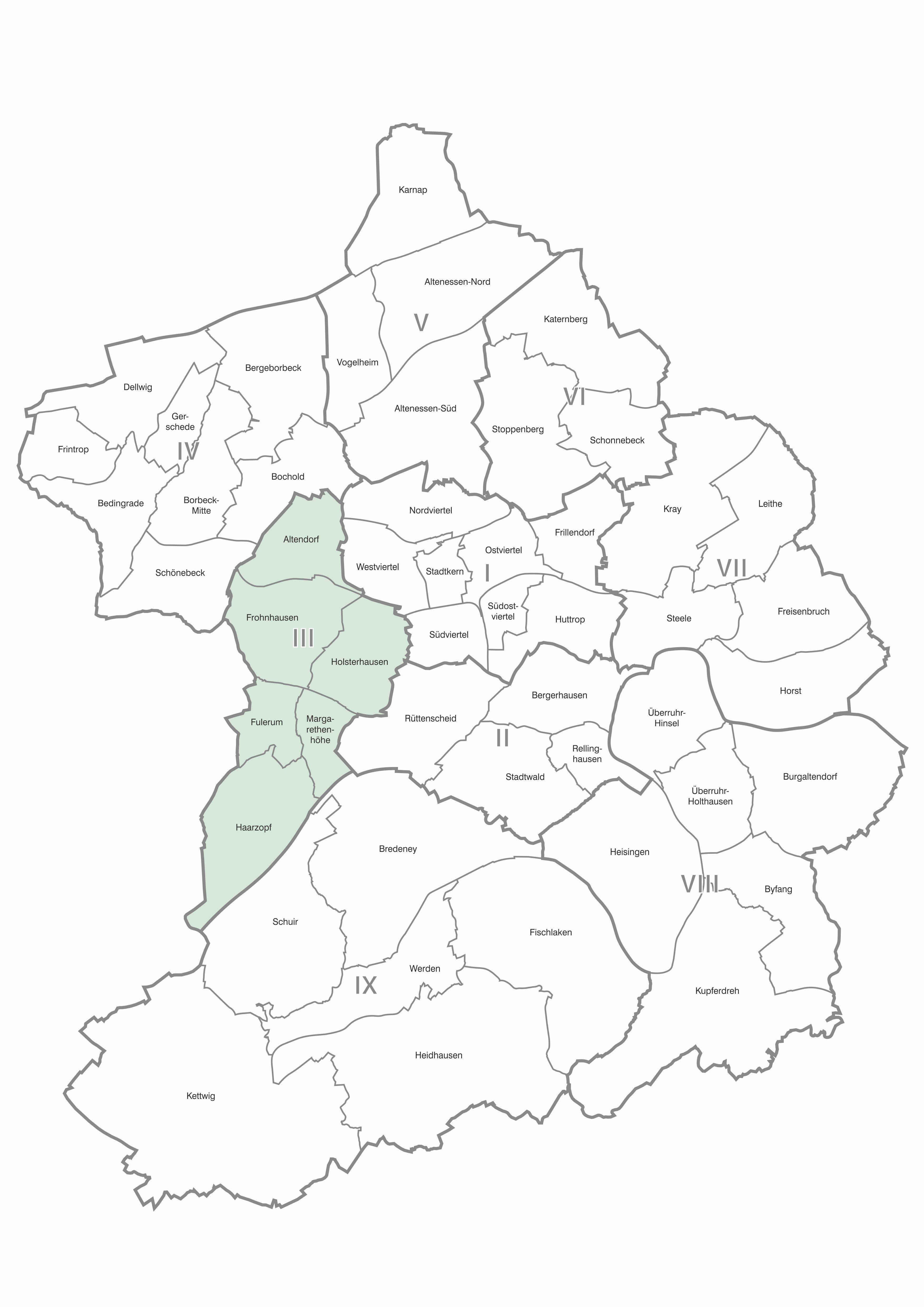 Karte der Stadtteile und Bezirke Essen, Bezirk 3