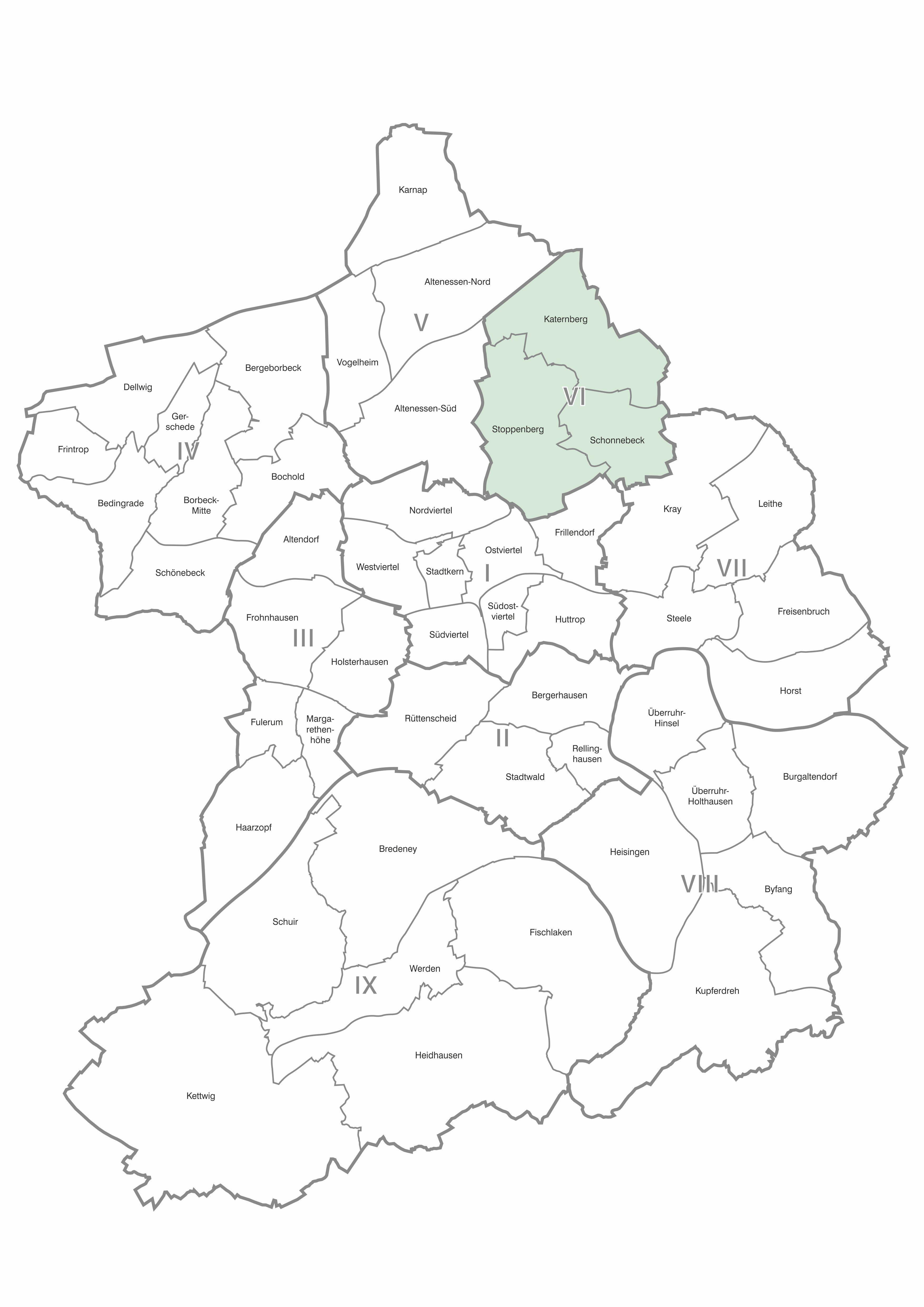 Karte der Stadtteile und Bezirke Essen, Bezirk 6