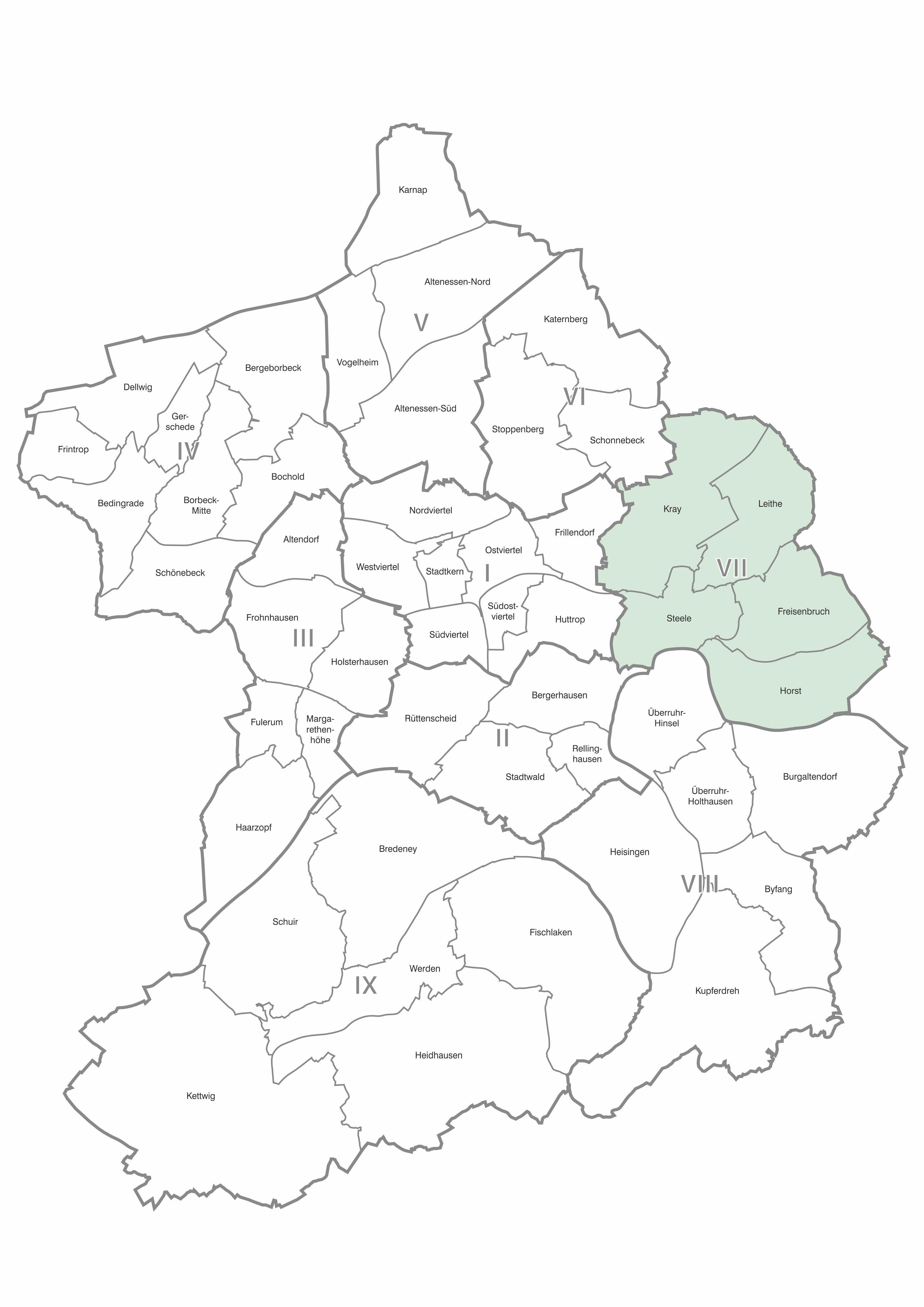 Karte der Stadtteile und Bezirke Essen, Bezirk 7