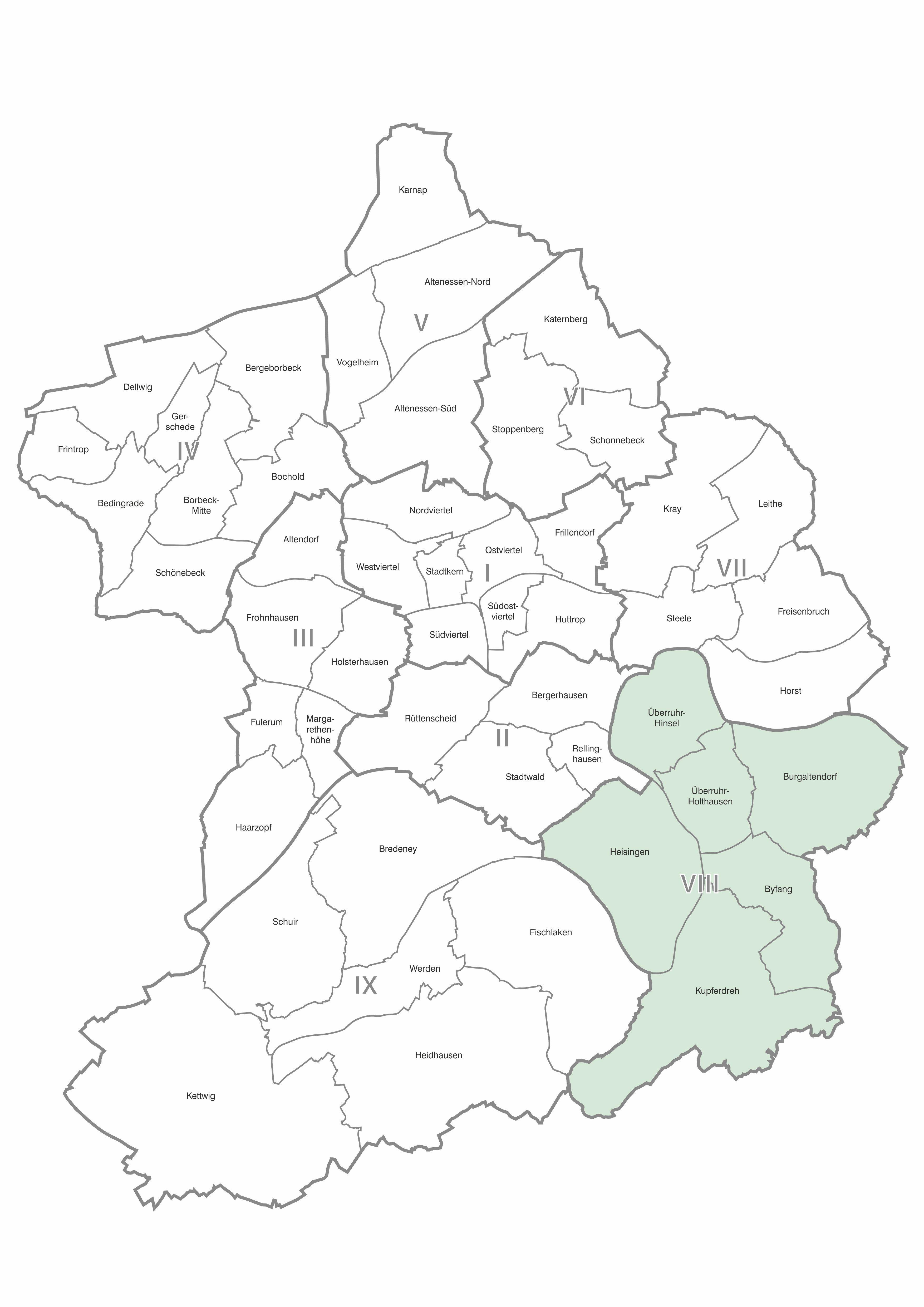 Karte der Stadtteile und Bezirke Essen, Bezirk 8