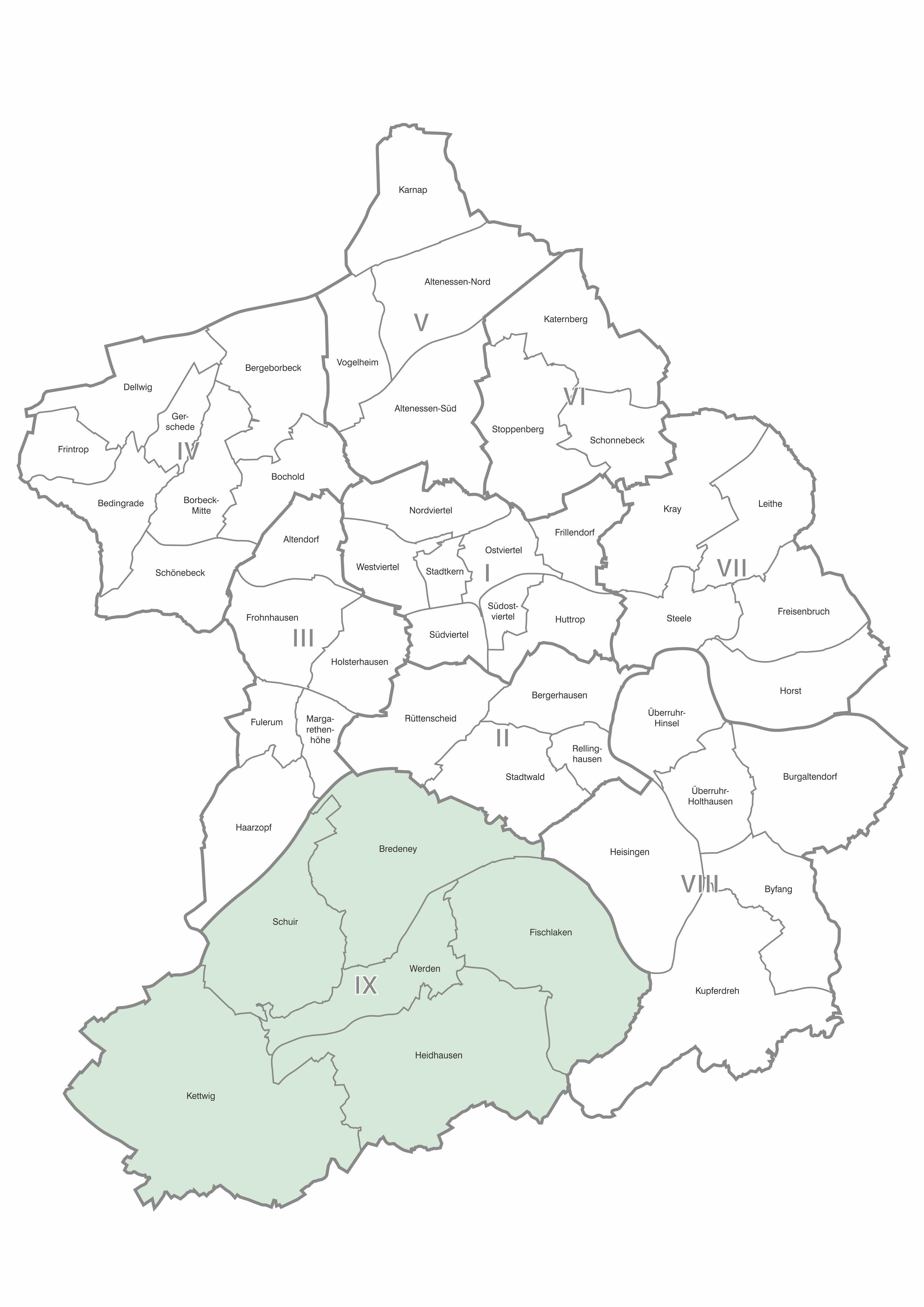 Karte der Stadtteile und Bezirke Essen, Bezirk 9