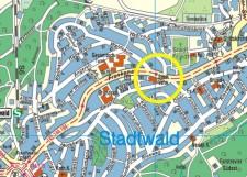Umgebungskarte der Stadtteilbibliothek Stadtwald