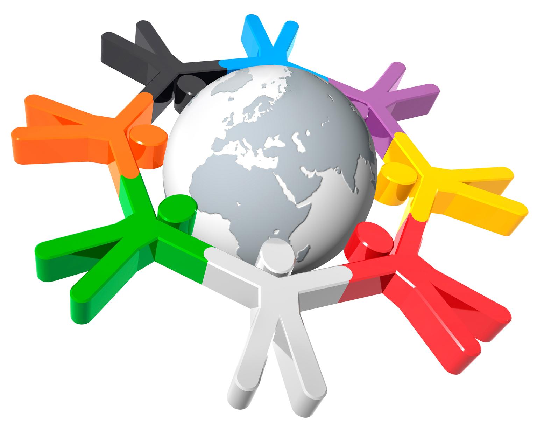 Acht stilisierte Männchen in verschiedenen Farben umkreisen den Globus.