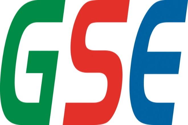 Logo GSE: Die drei Buchstaben nebeneinander; G in Grün, S in Rot, E in Blau