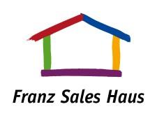 Logo Franz Sales Haus: mit fünf bunten Strichen umrissenes Haus