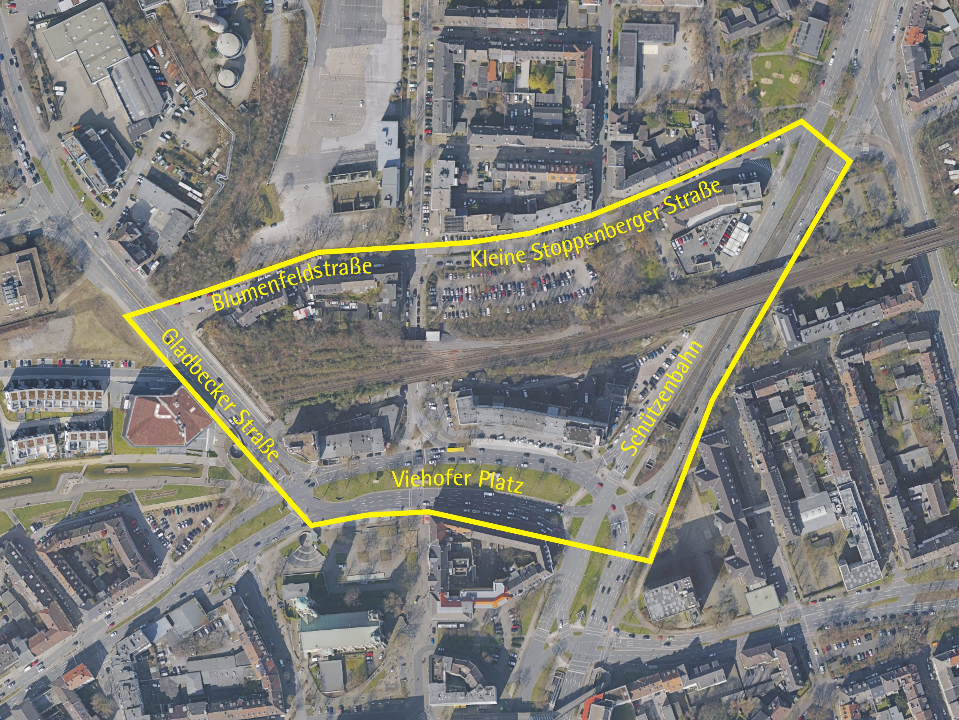 Luftbild: Eltingviertel/Viehofer Platz