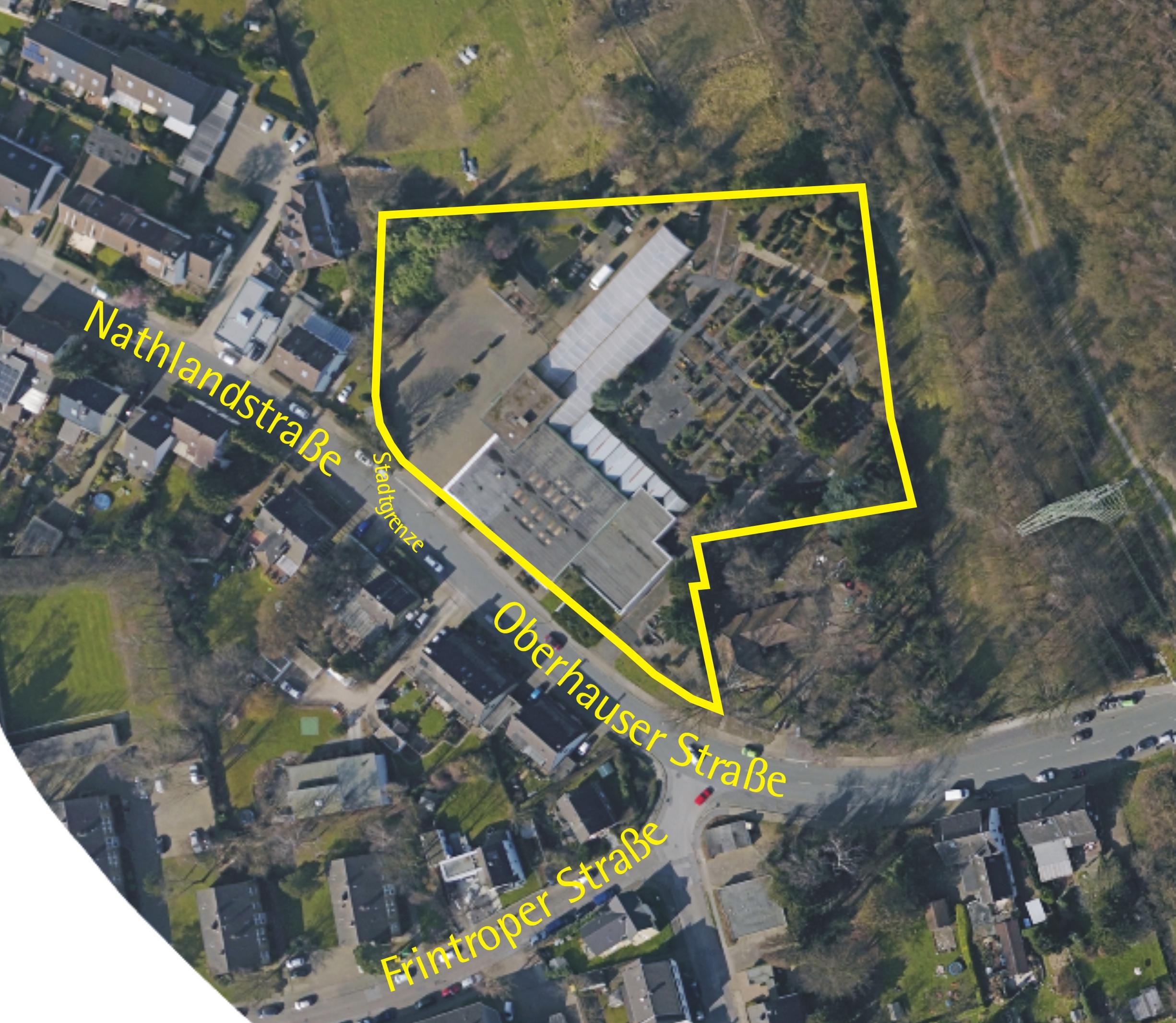 Luftbild: Oberhauser Str. 156 (ehemaliges Gartencenter)