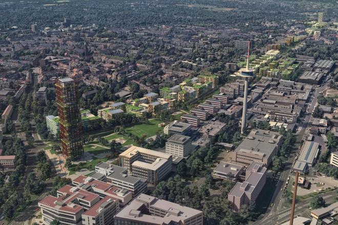 Schrägluftperspektive vom westlichen Auftakt in Richtung Essen Zentrum