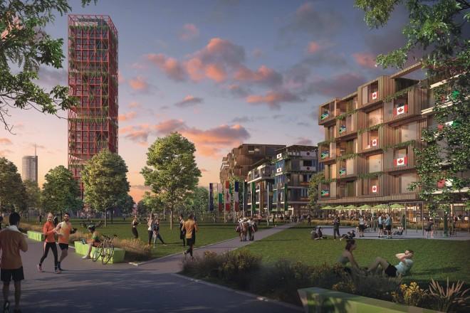 Bildmontage: Fußgängerperspektive mit Sportpark und östlichem Eingangstor