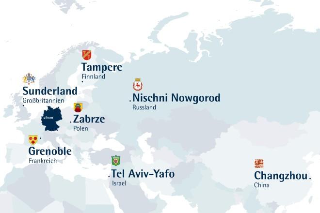 Grafik: Landkarte mit den Essener Partnerstädten