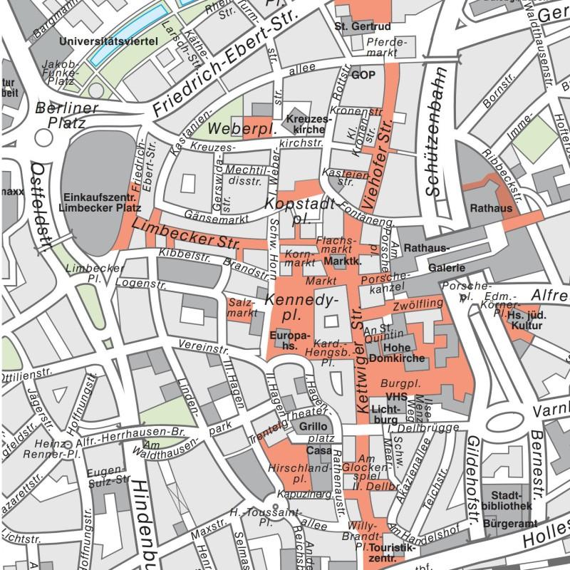 Lageplan: Sperrzonen für E-Scooter in der Innenstadt (rot markiert)