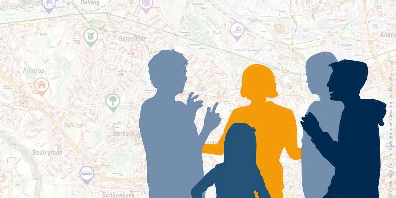 Symbolbild: fünf gezeichnete Personen diskutieren vor einem Stadtplan
