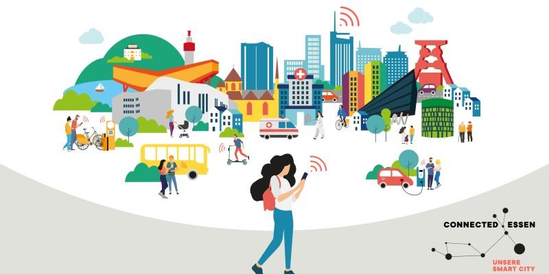 Grafik und Schriftzug Unsere Smart City Essen