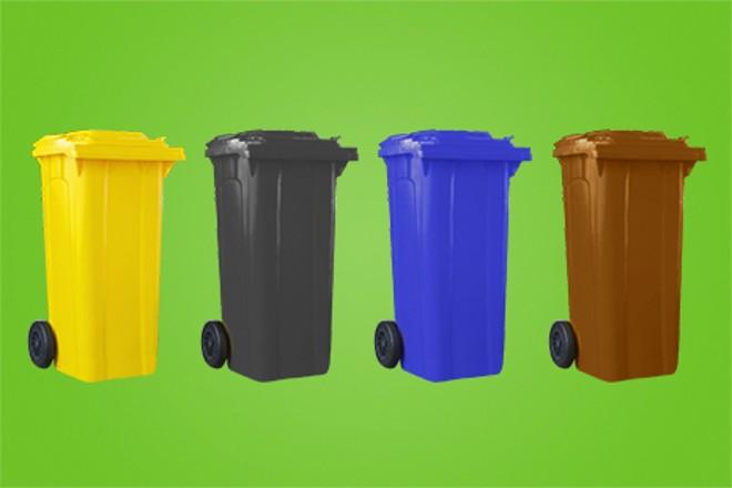 Grafik: Abbildung verschiedener Abfallbehälter (Recycling, Restmüll, Papier, Grünabfall
