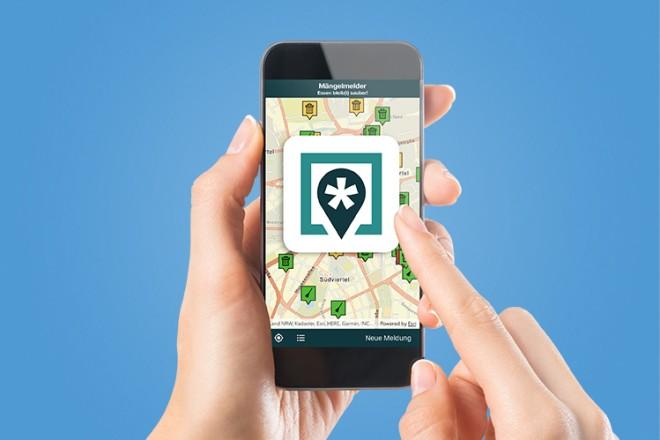 Grafik: Das Logo zum Mängelmelder auf einem Smartphone-Display abgebildet