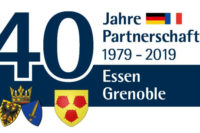 Logo zur 40 jährigen Partnerschaft der Städte Essen und Grenoble
