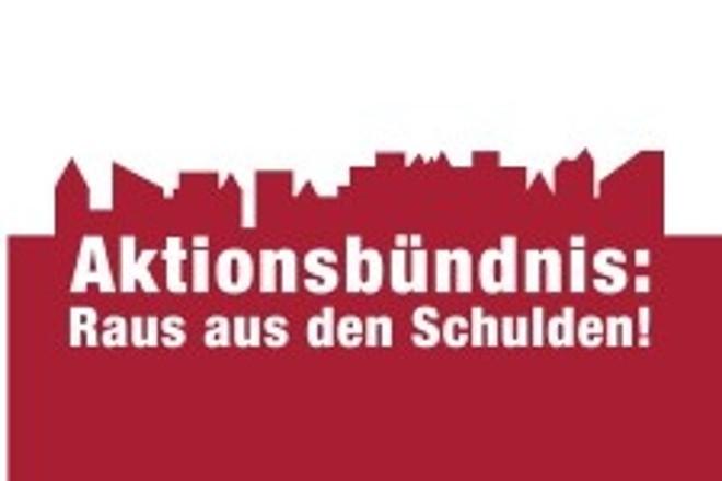 Logo und Schriftzug: Aktionsbündnis Raus aus den Schulden