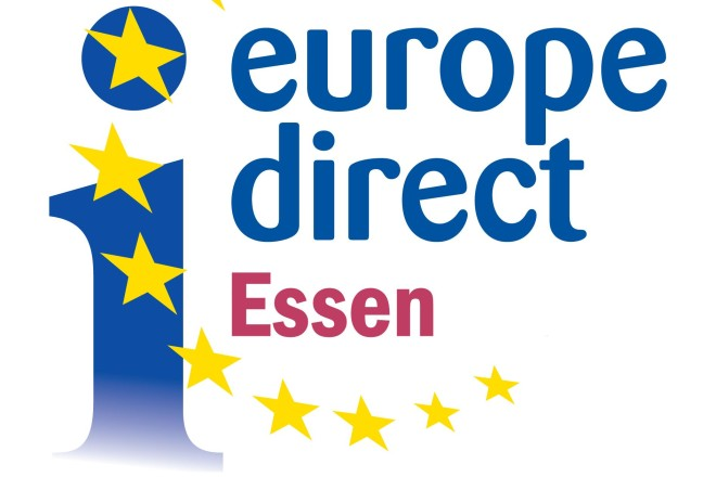 """Logo: """"I"""" mit gelbem Sternenkreis, Schriftzug Europe Direct Essen"""