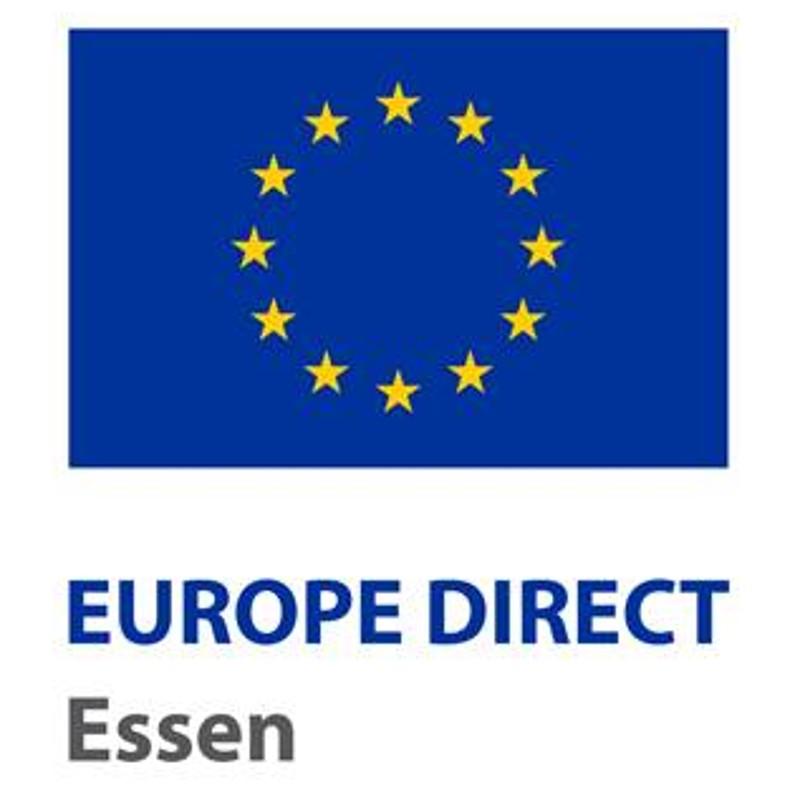 Logo: gelber Sternenkreis auf blauem Grund, darunter Schriftzug Europe Direct Essen