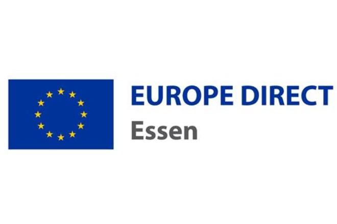 Logo: gelber Sternenkreis auf blauem Grund, Schriftzug Europe Direct Essen