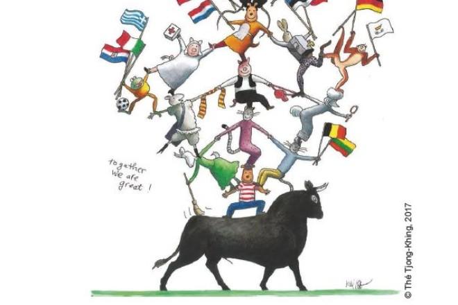 Grafik: Stier mit personifizierten Tieren auf dem Rücken, die Fahnen schwenken