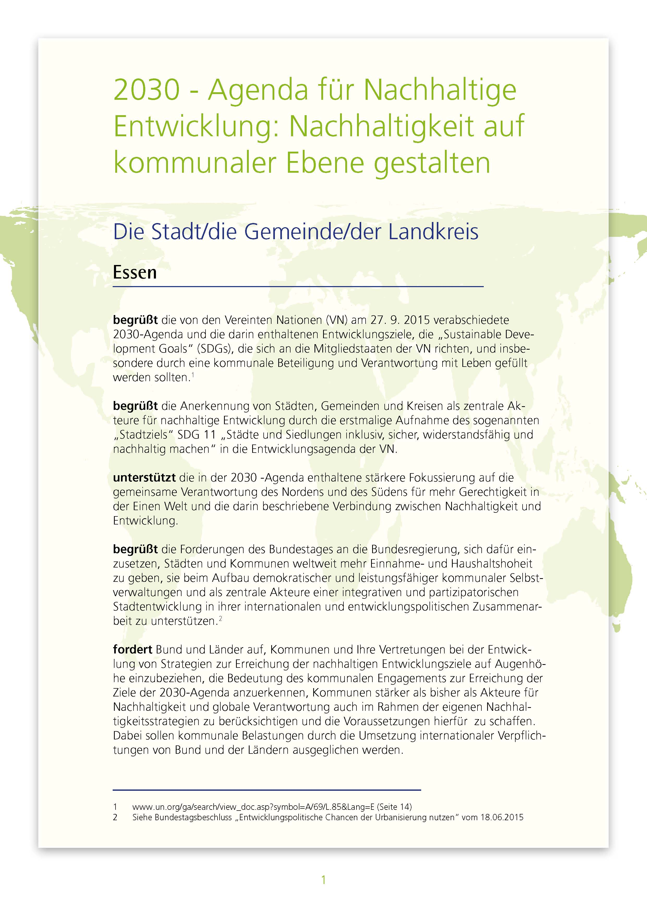Musterresolution: 2030 - Agenda für Nachhaltige Entwicklung