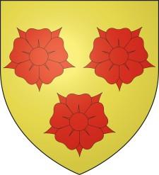 Das Wappen der Stadt Grenoble zeigt drei rote Blumen auf gelbem Untergrund.