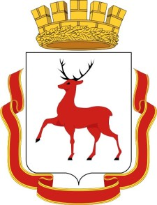 Wappen: Roter Hisch, darüber eine Krone