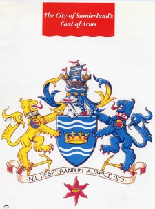 Logo: Schild zwischen zwei Löwen
