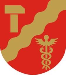 Wappen: gelbes T auf einem roten Schild