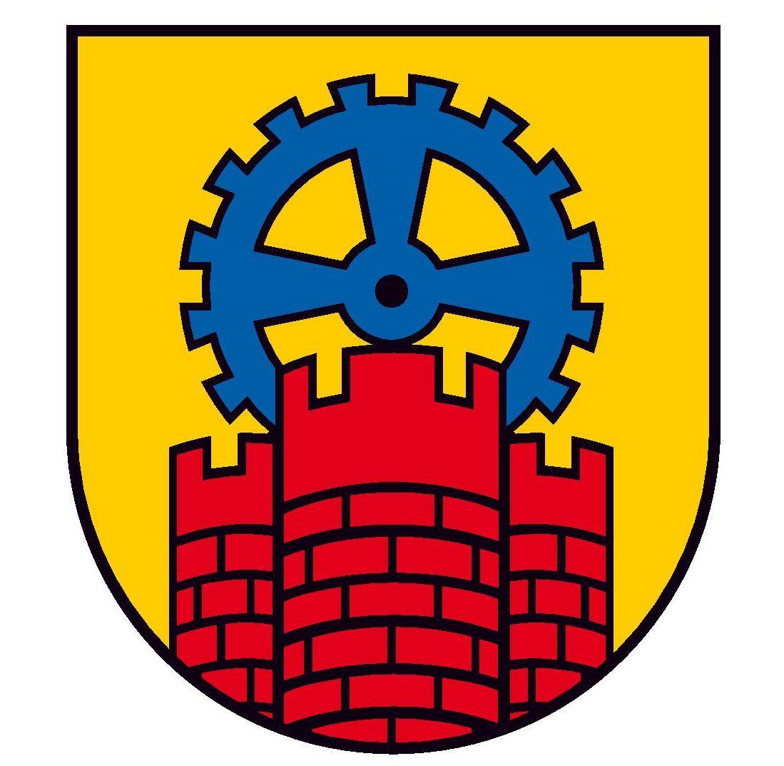 Wappen: Rote Burg, blaues Zahnrad