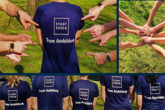 """Eine Fotocollage aus mehreren Fotos mit Menschen, welche ein Trikot mit der Aufschrift """"Stadt Essen - Team Ausbildung tragen"""" und mit dem Rücken zur Kamera stehen."""