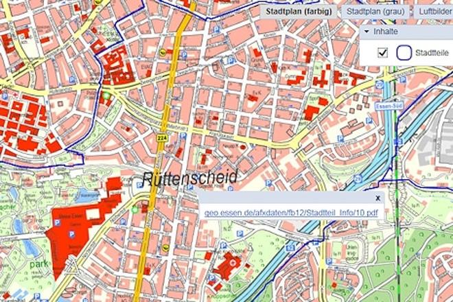 Grafik: Stadtplanausschnitt mit Informationen zu Essener Stadtteilen