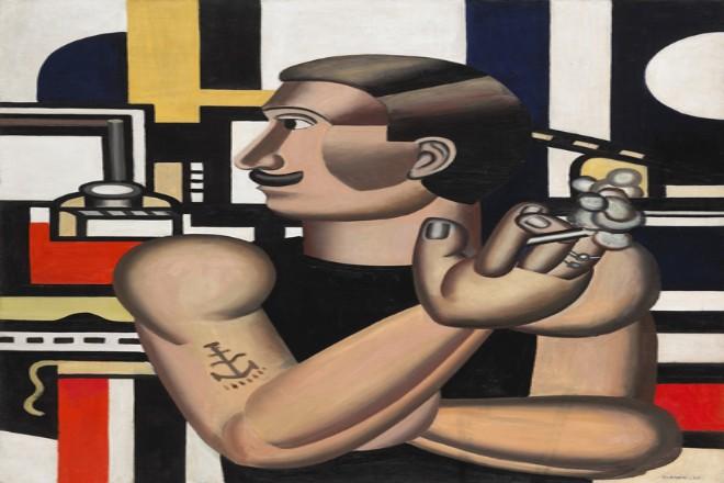 abstraktes Bild eines Mannes als Maschine