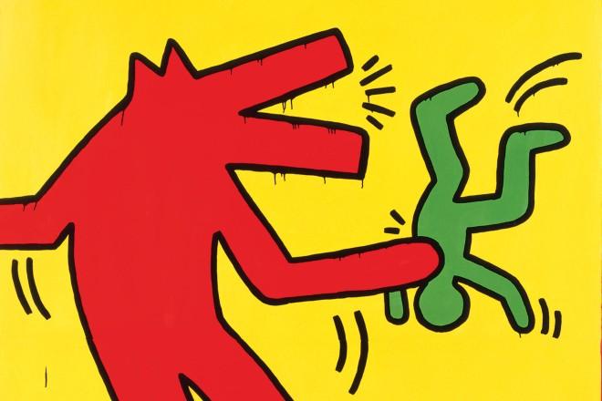 abstraktes Bild mit einer roten Figur und zwei grünen Figuren