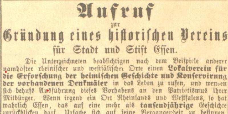 Foto: Aufruf zur Gründung eines Historischen Vereins in Essen vom 21.10.1880