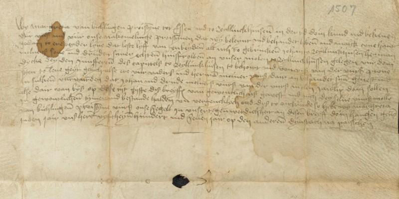 Foto: Pergamenturkunde (Behandigungsbrief) über die Rellinghauser Stiftsmühle aus dem Jahr 1507