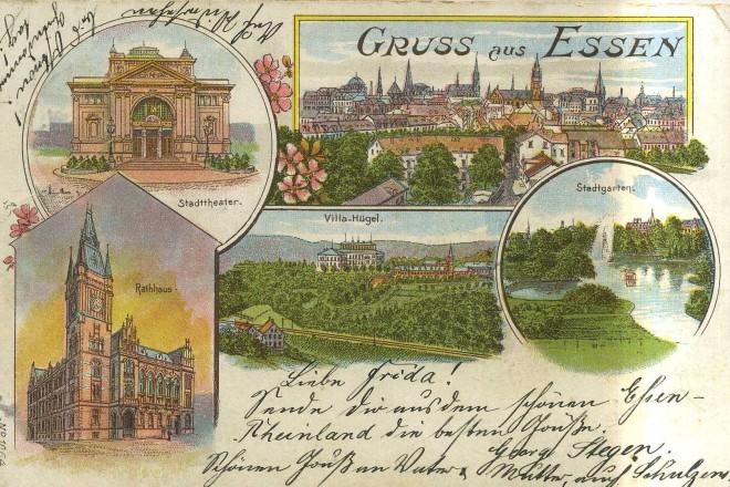 Historische Postkarte: Gruß aus Essen mit Einzelbildern des Grillo-Theaters, des Stadtgartens, des alten Rathauses und der Villa Hügel