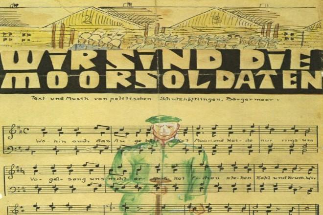 """Foto: Text und Noten zum Lied """"Wir sind die Moorsoldaten"""" mit Zeichnungen"""