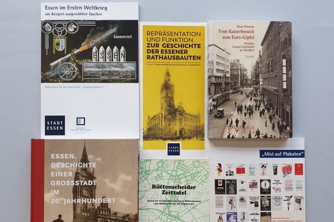 Foto: Collage von Veröffentlichungen des Hauses der Essner Geschichte/Stadtarchiv