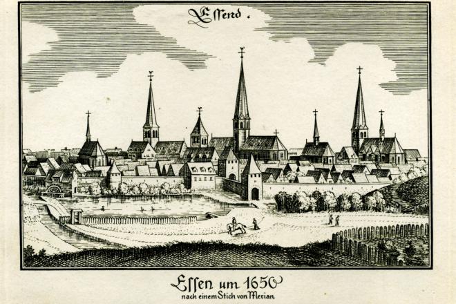 Kupferstich: Blick auf die Stadtsilhouette von Essen um 1650
