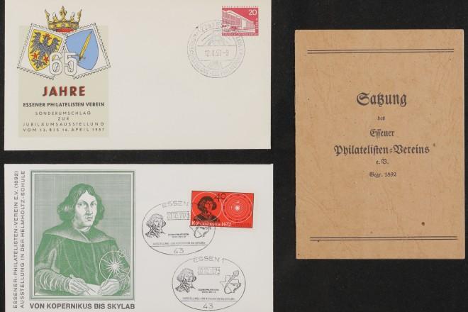 Foto: Sonderumschläge, Werbestempel und Satzung des Essener Philatelisten-Vereins e.V.