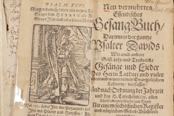 Foto: Deckblatt des Essendischen Gesangbuches von 1676